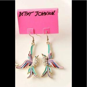 🆕 Betsey Johnson Multi-color Bird Drop Earrings!